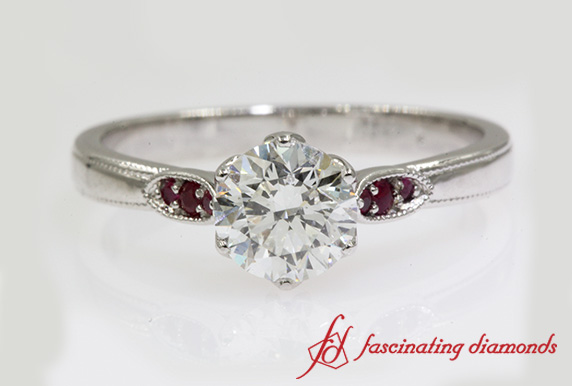 Milgrain Diamond Ring With Ruby