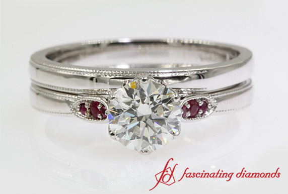 Milgrain Wedding Set With Ruby