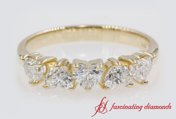 1 Ctw. 5 Stone Heart Diamond Band