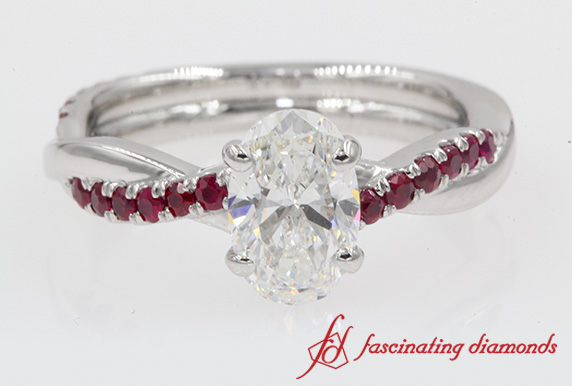 Oval Diamond Twisted Ruby Ring