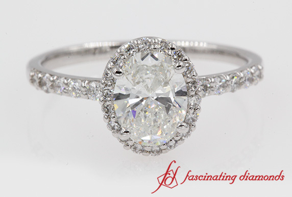 Halo Oval Shaped Diamond Ring