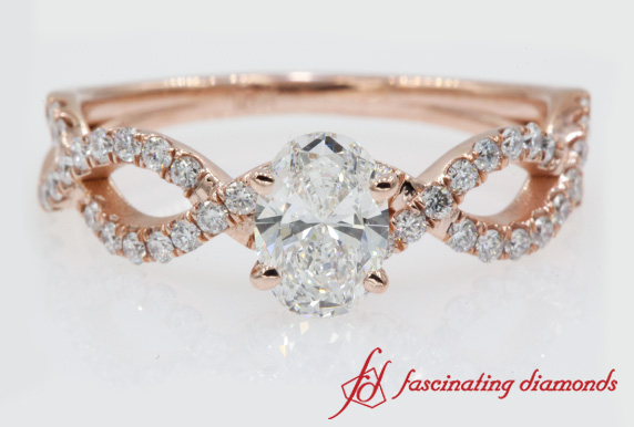 Twisted Oval Diamond Engagement Ring