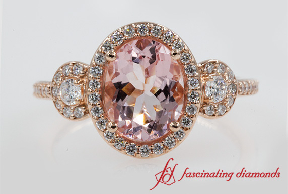 Pave Halo Morganite 3 Stone Engagement Ring In Rose Gold