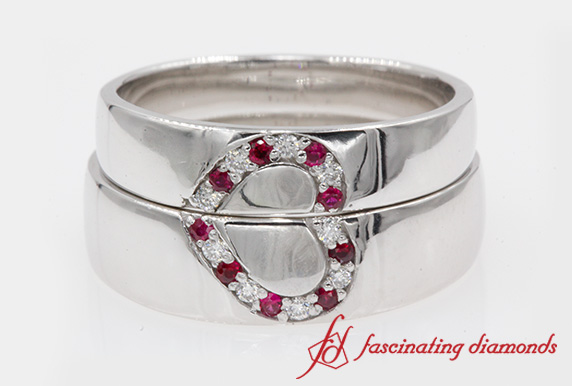Couples Wedding Band With Ruby