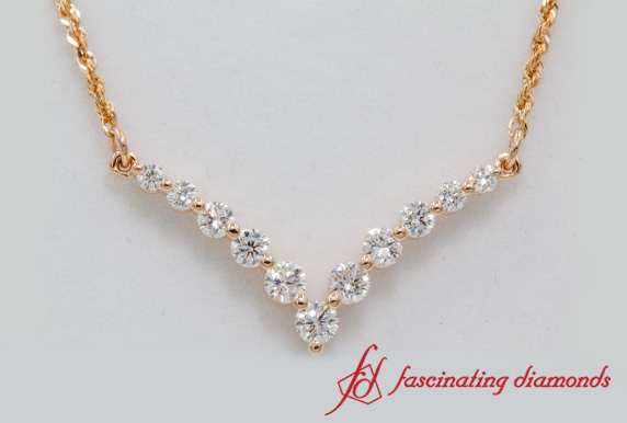 Round Diamond V Shaped Necklace
