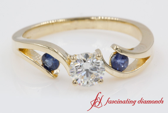 Tension Set Ring With Blue Sapphire