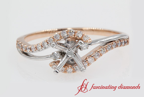 2 Tone 3 Stone Diamond Ring Setting