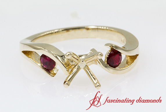3 Stone Ring Setting With Ruby