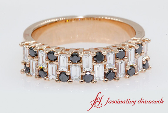 Black Diamond Baguette Wedding Band