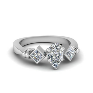 3 Stone Pear Diamond Rings