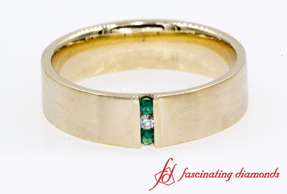 3 Stone Anniversary Band With Emerald For Men In Gold