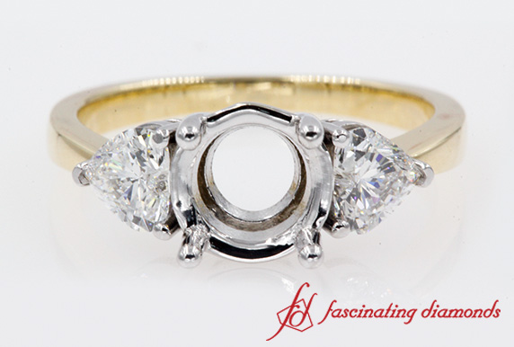 3 Stone Heart Diamond Engagement Ring Setting In Gold-FD8029R