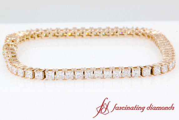 6 Ct. Princess Cut Tennis Eternity Bracelet In Rose Gold