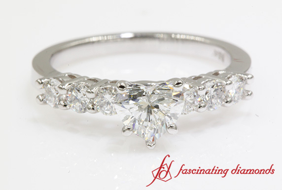7 Stone Heart Diamond Engagement Ring