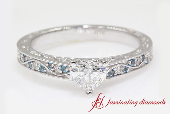 Antique Heart Diamond Engagement Ring With Blue Topaz In White Gold