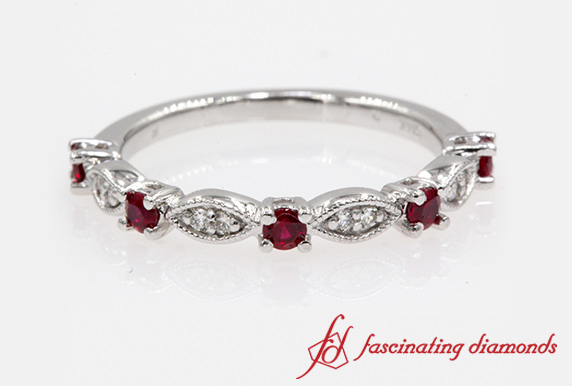 Art Deco Ruby Wedding Band In White Gold