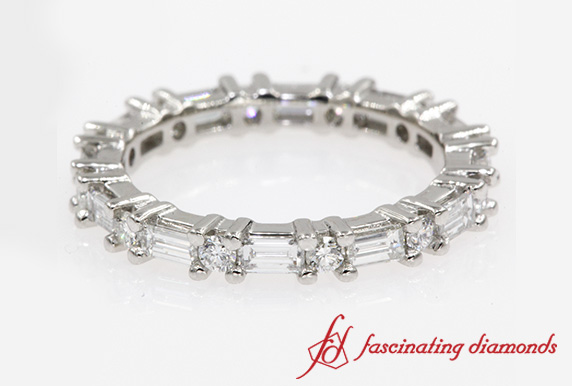 Baguette And Round Diamond Eternity Band In Platinum-FDEWB318