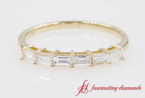 Baguette Diamond Womens Wedding Band In Yellow Gold