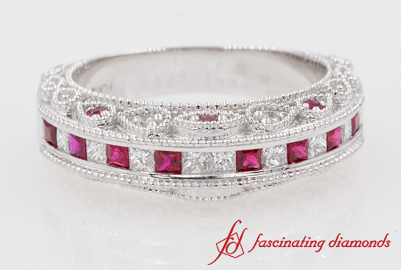 Antique Pink Sapphire Diamond Band