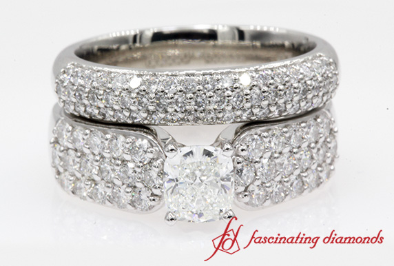 Custom Cushion Cut Pave Diamond Wedding Set In Platinum