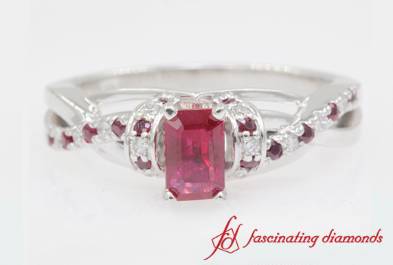 Customized Pave Split Colored Ring In White Gold