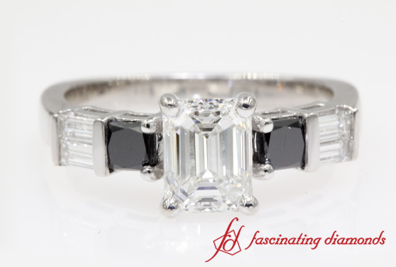 Emerald Cut Bar Set Diamond Ring