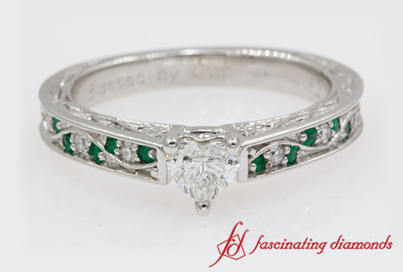 Filigree Engagement Ring With Emerald
