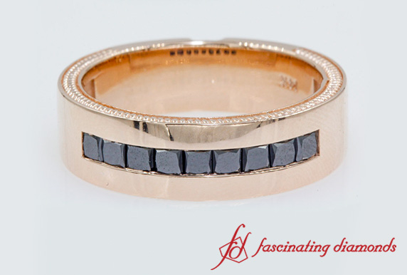 Flat Channel Black Diamond Wedding Band In Rose Gold