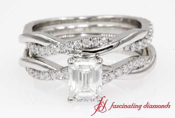 Infinity Emerald Cut Diamond Ring Set