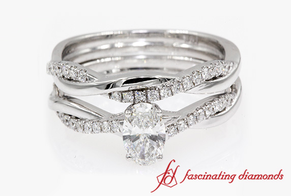 Infinity Twist Oval Cut Wedding Set