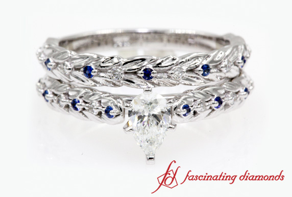 Leaf Design Diamond Bridal Set With Sapphire In White Gold