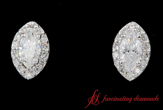 Marquise Halo Diamond Stud Earring