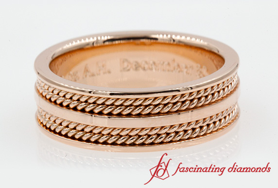 Mens Twisted Wedding Band In Rose Gold-FDHM169B