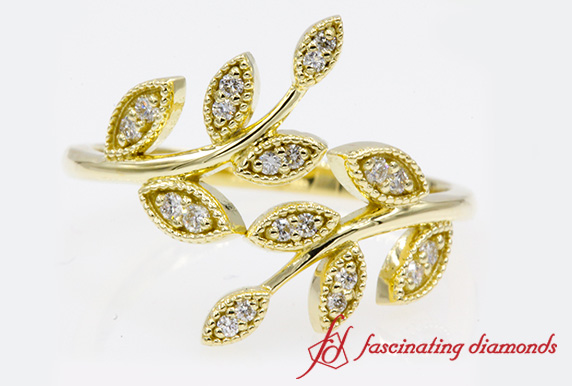 Leaf Design Diamond Wedding Band