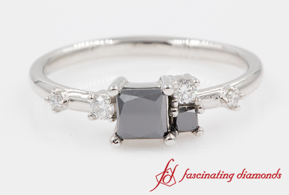 Non Symmetrical Black Diamond Ring In Platinum-FD8354PR