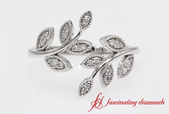 Open Leaf Milgrain Diamond Band In White Gold-FD8342G