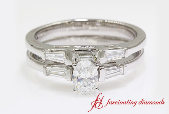 Oval Diamond Bridal Set With Baguette In White Gold