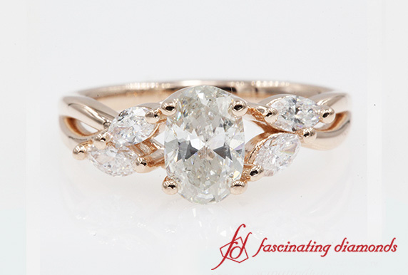 Oval Shaped Twisted Petal Diamond Ring In Rose Gold