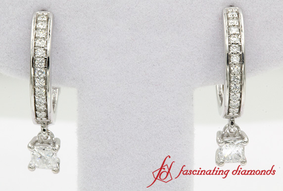 Princess Cut Diamond Hoop Earring In White Gold