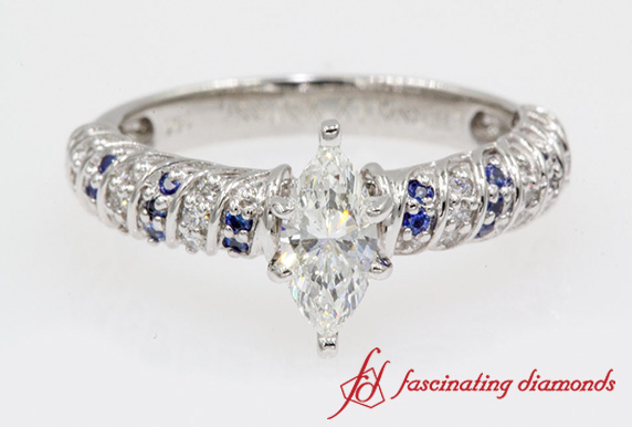 Rope Design Marquise Diamond Ring With Sapphire In White Gold