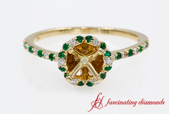 Semi Mount Halo Engagement Ring With Emerald In Gold