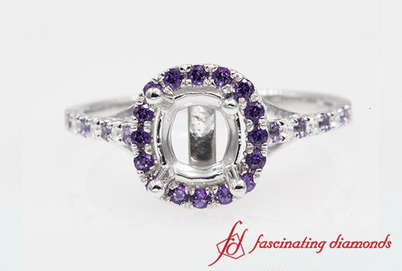 Purple Topaz Halo Ring Setting
