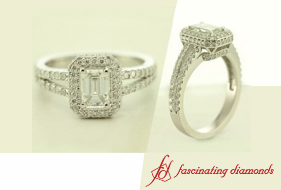 Split Halo Emerald Cut Diamond Ring