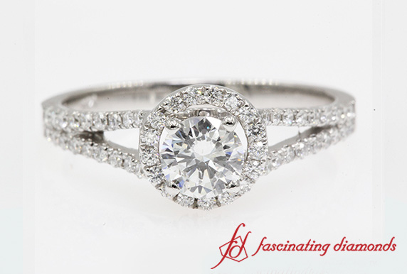 Split Halo Diamond Ring