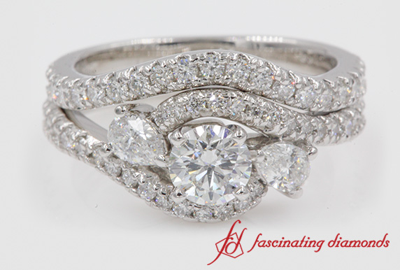 Bypass Halo Round Diamond Ring Set
