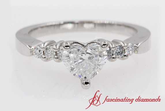 Tapered Edged Heart Diamond Engagement Ring In White Gold