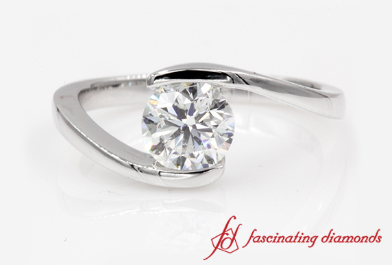 Tension Set Round Diamond Solitaire Ring In White Gold-FDENR7806ROR