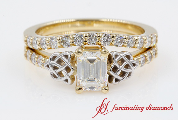 Two Tone Celtic Wedding Ring Set In Yellow Gold