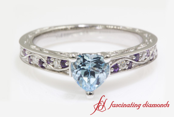 Custom Vintage Colored Engagement Ring In White Gold