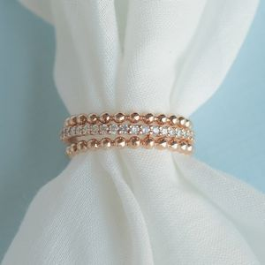 Gold Bead With Diamond Stack Band
